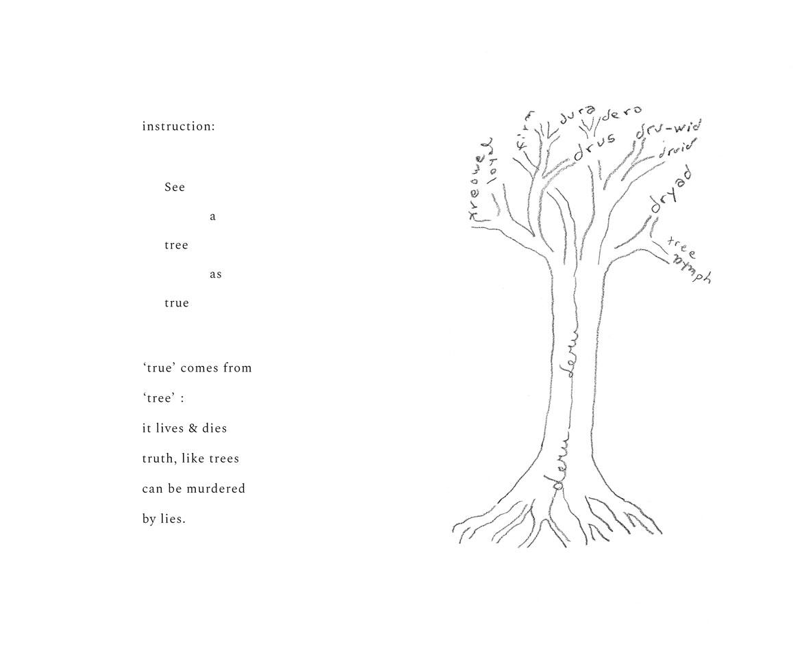 Poem True Tree, byCecilia Vicuña, as featured in140 Artists' Ideas for Planet Earth