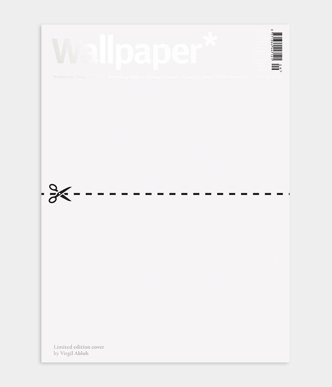 Designer Virgil Abloh Wallpaper* magazine cover design in which he cut the magazine in half for the September 2020 issue