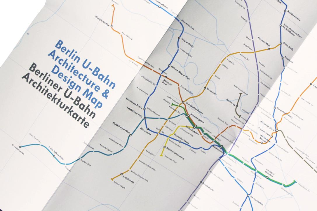 inside of the architecture-led u-bahn map of Berlin