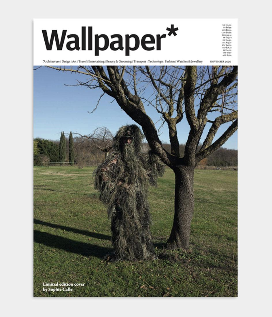 Sophie Calle Wallpaper* Magazine cover design featuring a self portrait of the artist disguised as a tree for the November 2020 issue