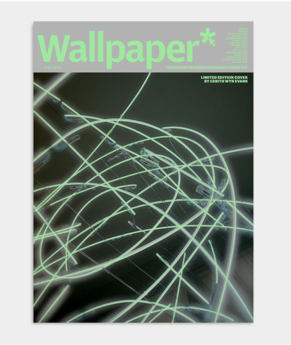 Artist Cerith Wyn EvansWallpaper* magazine cover design for May 2009, featuring glow in the dark neon art