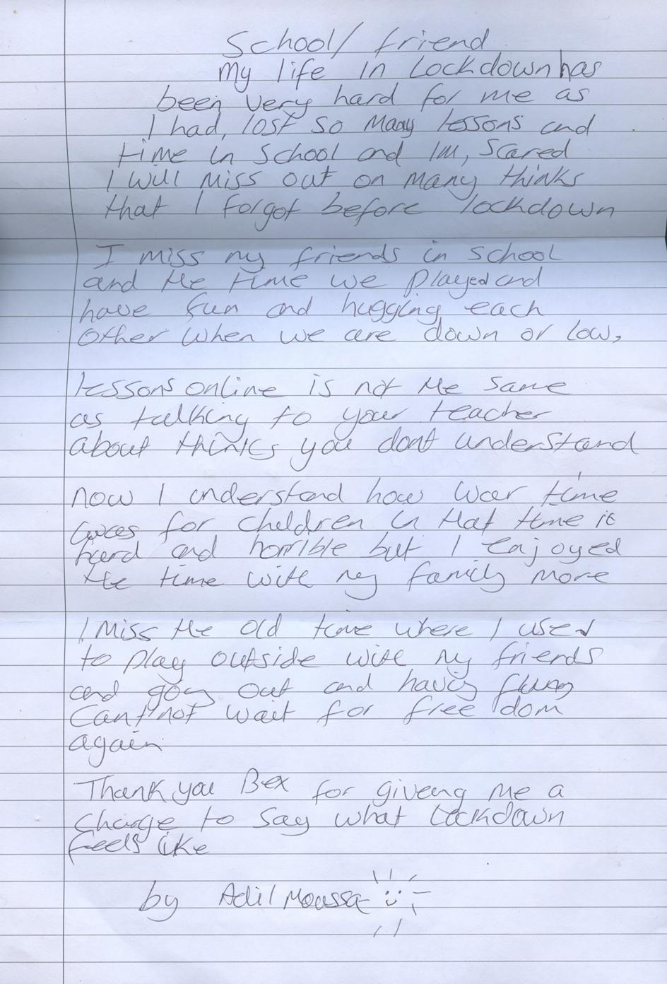 Bex Day Children of Covid photography series letter from Adil