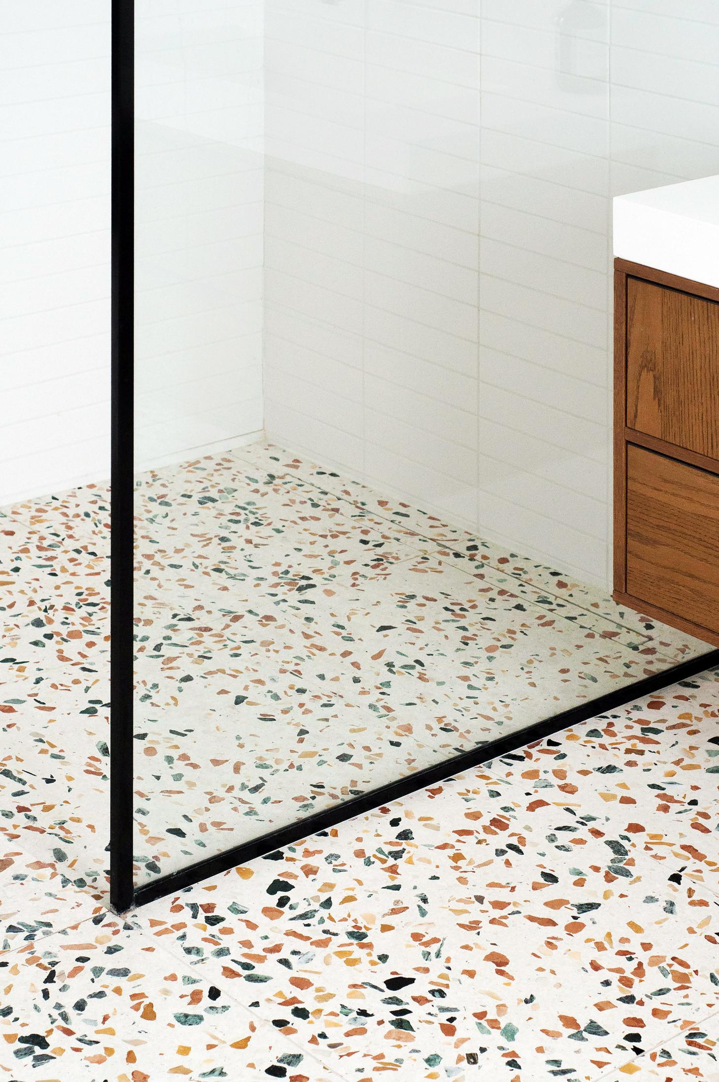 Terrazzo bathroom floor in London townhouse