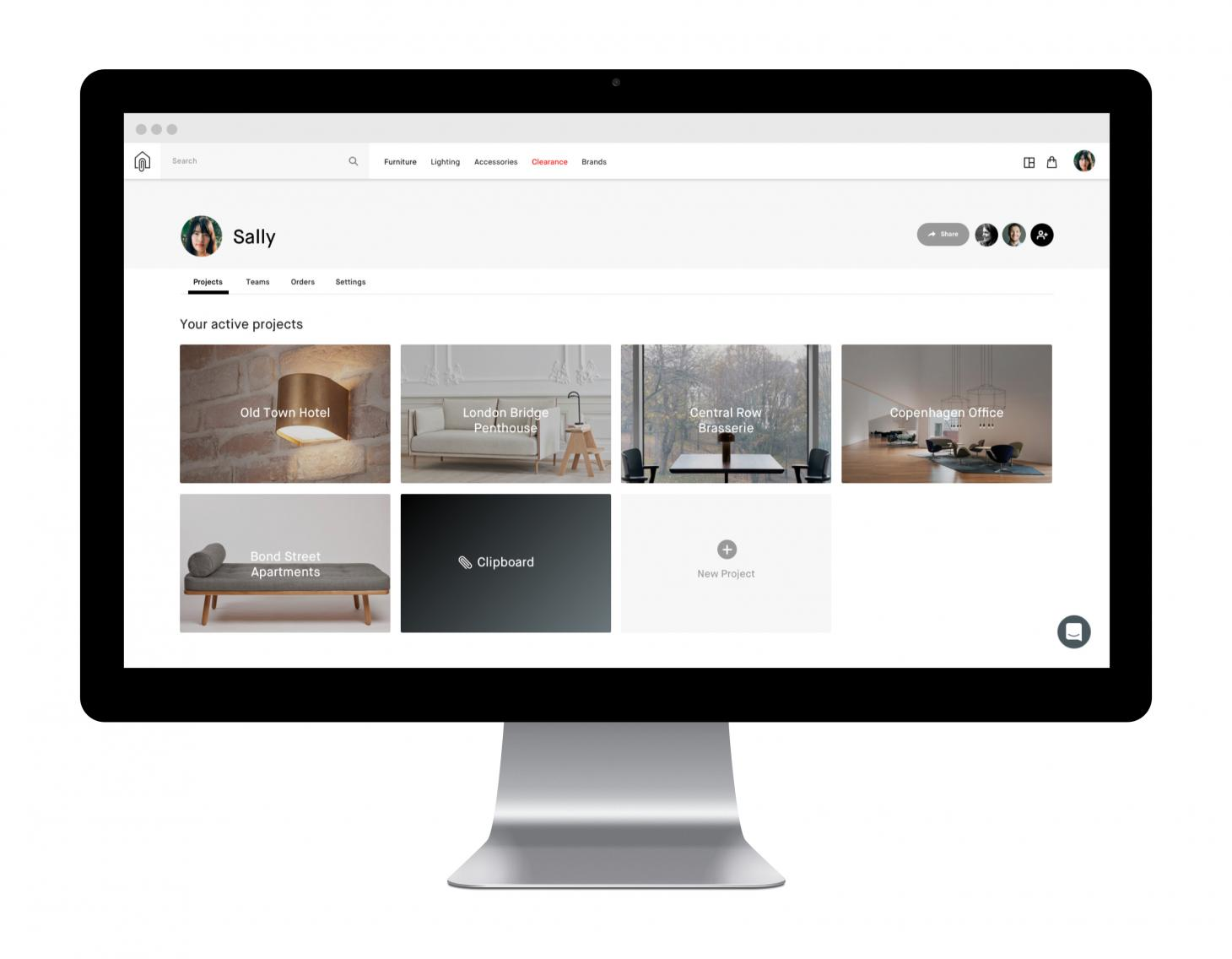 fabb sofas opens debut store and launches website interior website Clippings dashboard showing projects of interior designer