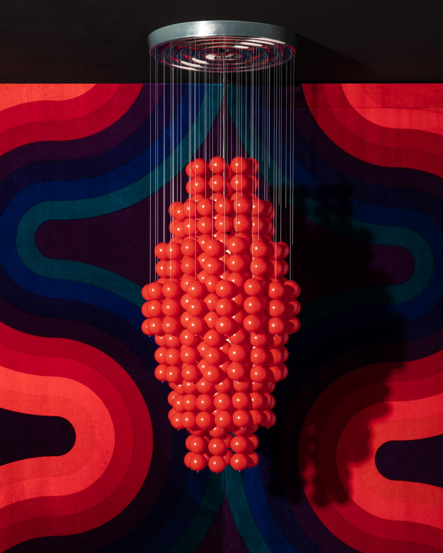 Ball Lamp type G by Verner Panton, consisting of a multitude of red plastic balls