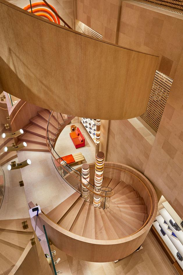 A double helix staircase in Louis Vuitton Bond Street