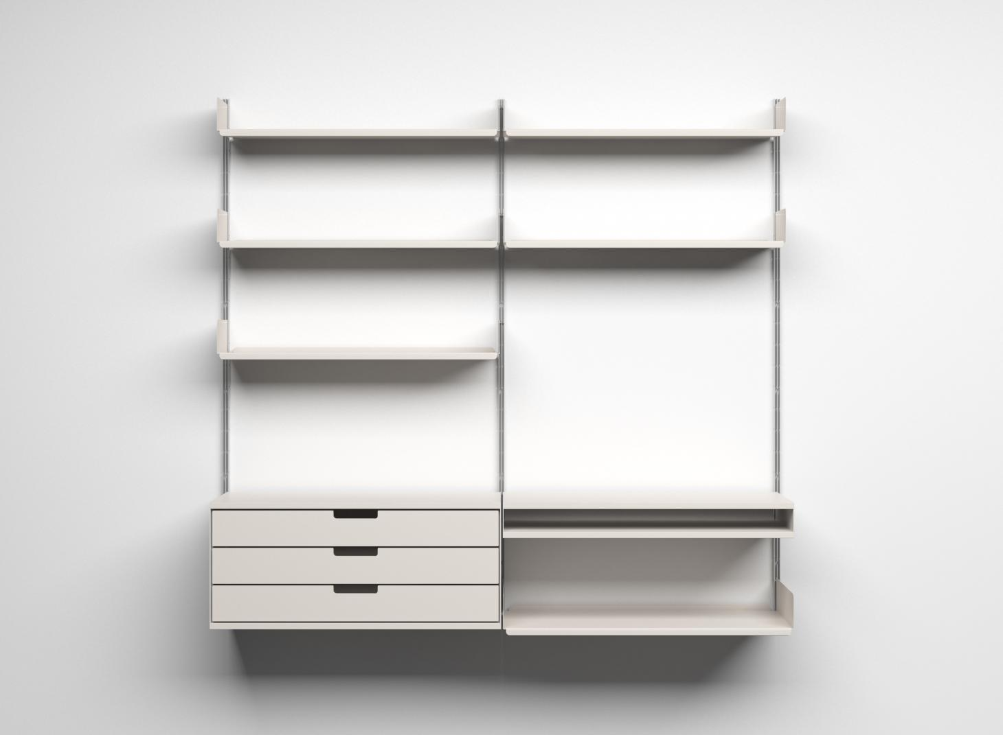 Empty Vitsoe shelving system by Dieter Rams on white wall