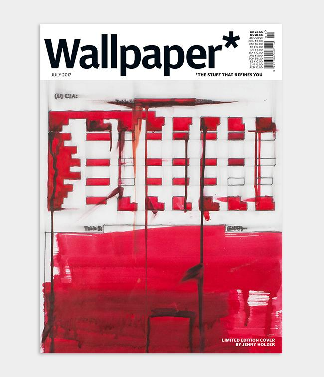 Artist Jenny Holzer Wallpaper* magazine cover design based on her red redaction paintings for July 2017 issue