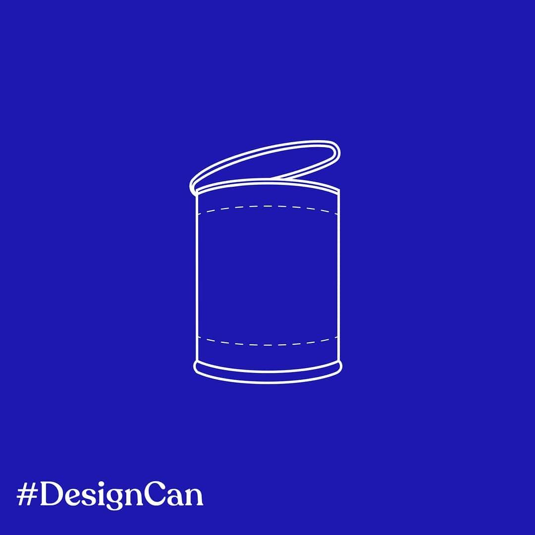 Blue and white graphic with can illustration created for Design Can initiative