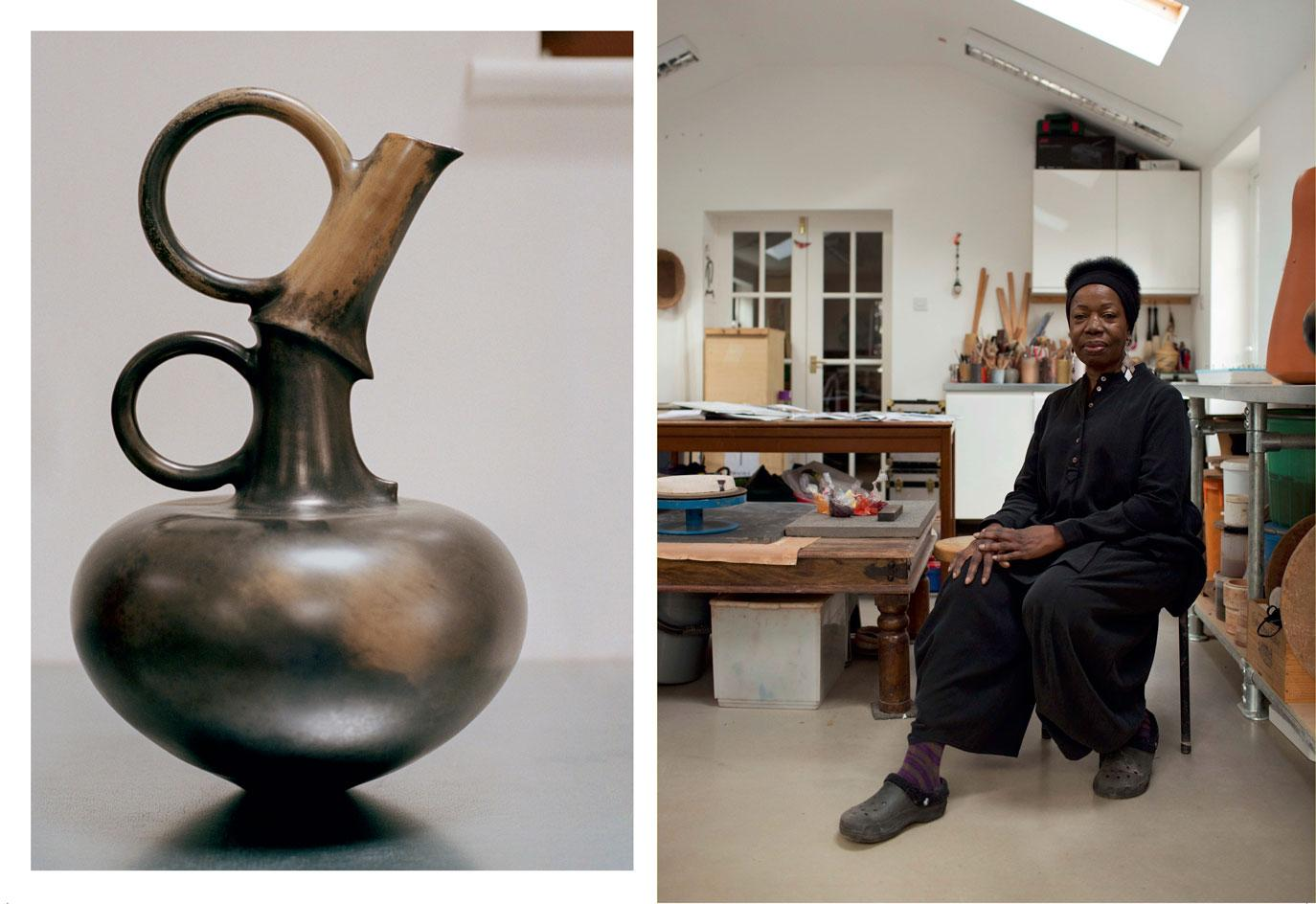 Untitled, 1990, burnished and carbonised terracotta byMagdalene Odundo, and a portrait of the artist in her Surrey studio