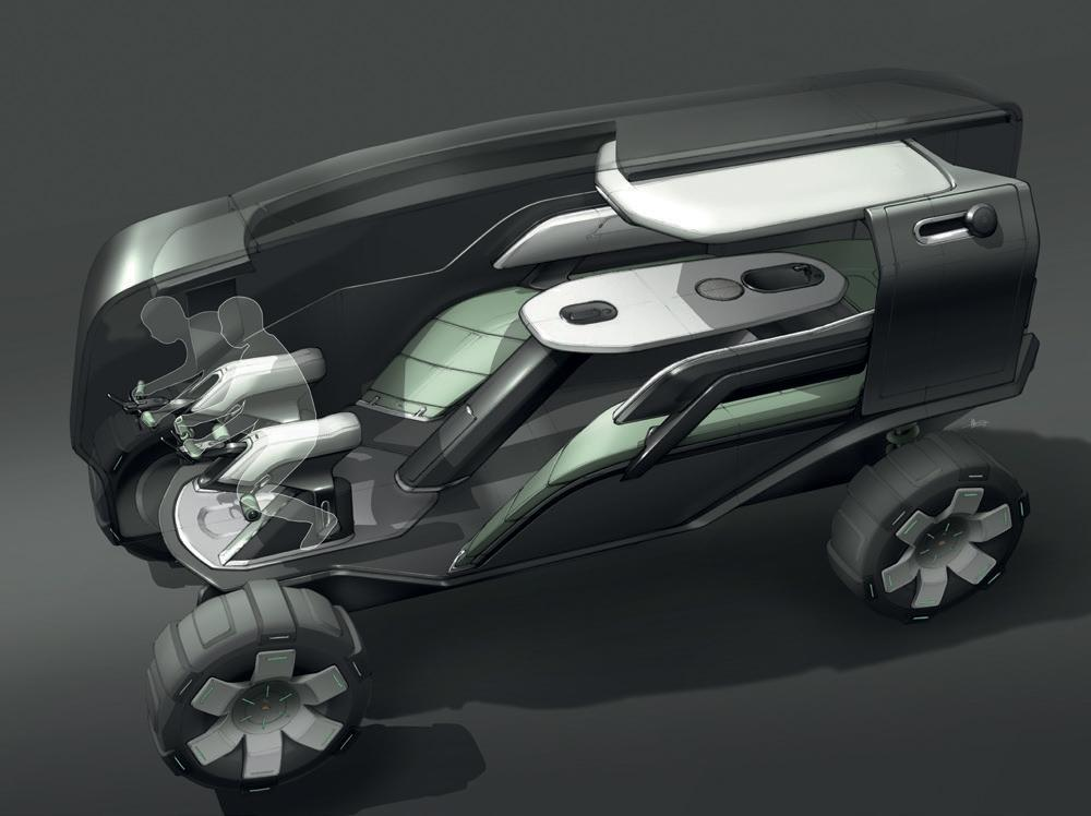 A Land Rover car concept features lean forward seats