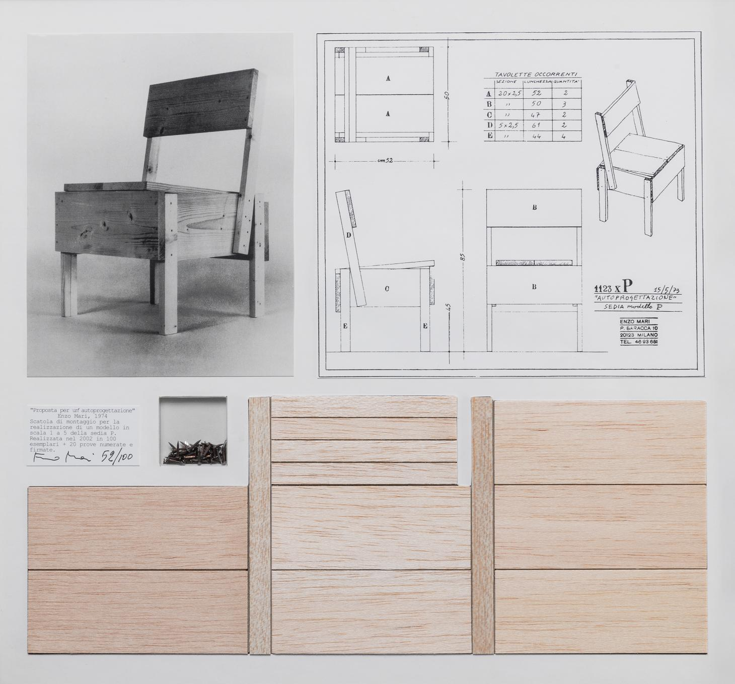 A black and white photograph or a wooden chair by Enzo Mari with wood pieces to make it and sketches