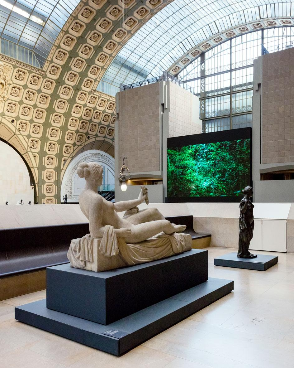 Installation view of Artificialis at Musée d'Orsay by artist Laurent Grasso