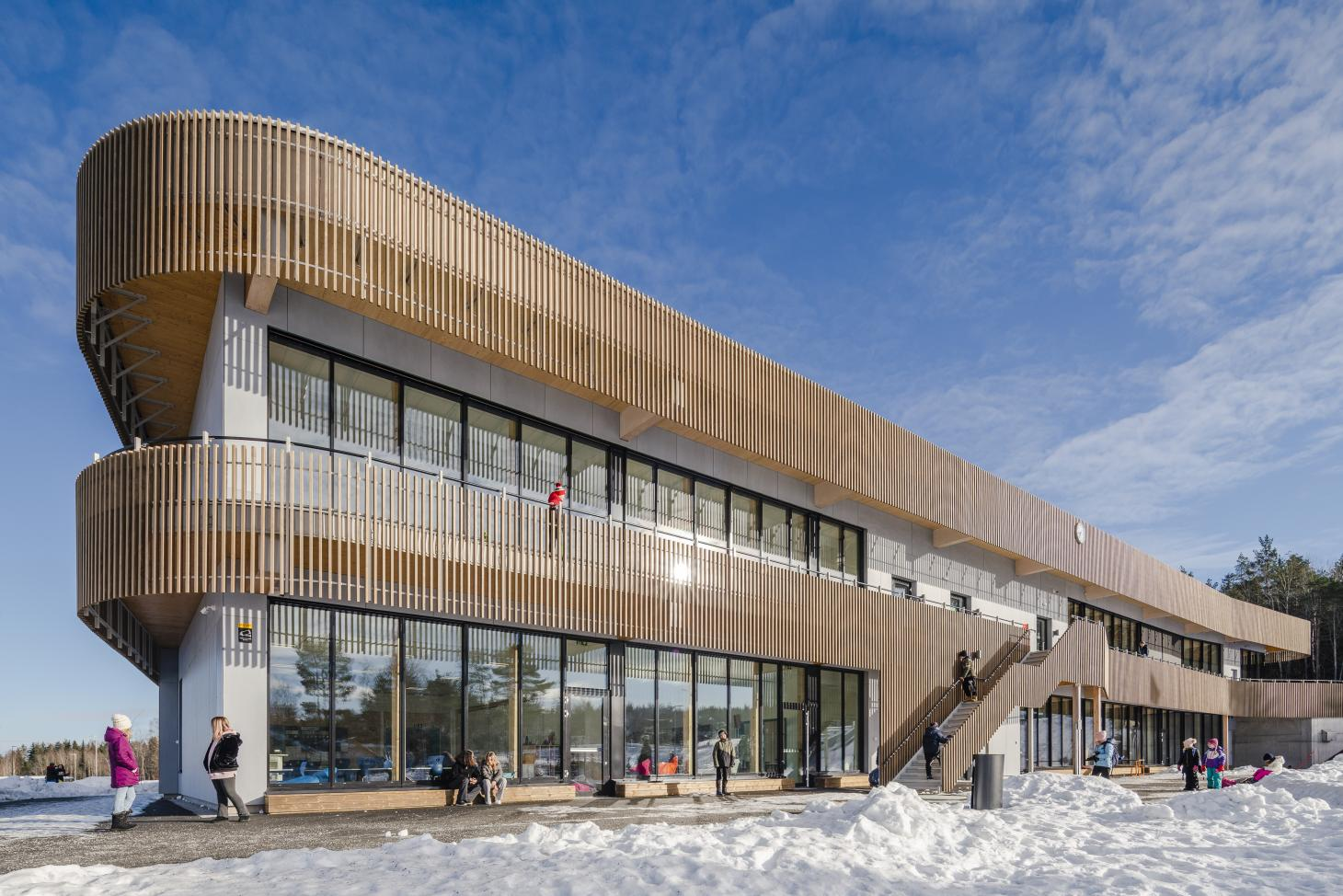 this new sustainable school in Norway features durable kebony wood cladding