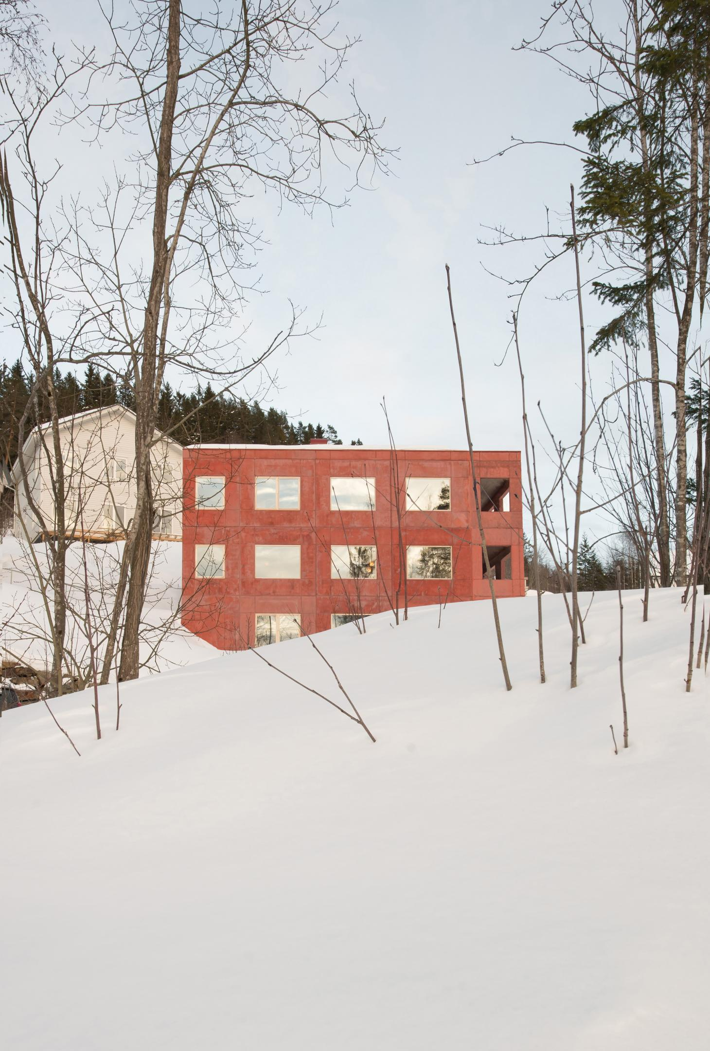 red concrete house norway