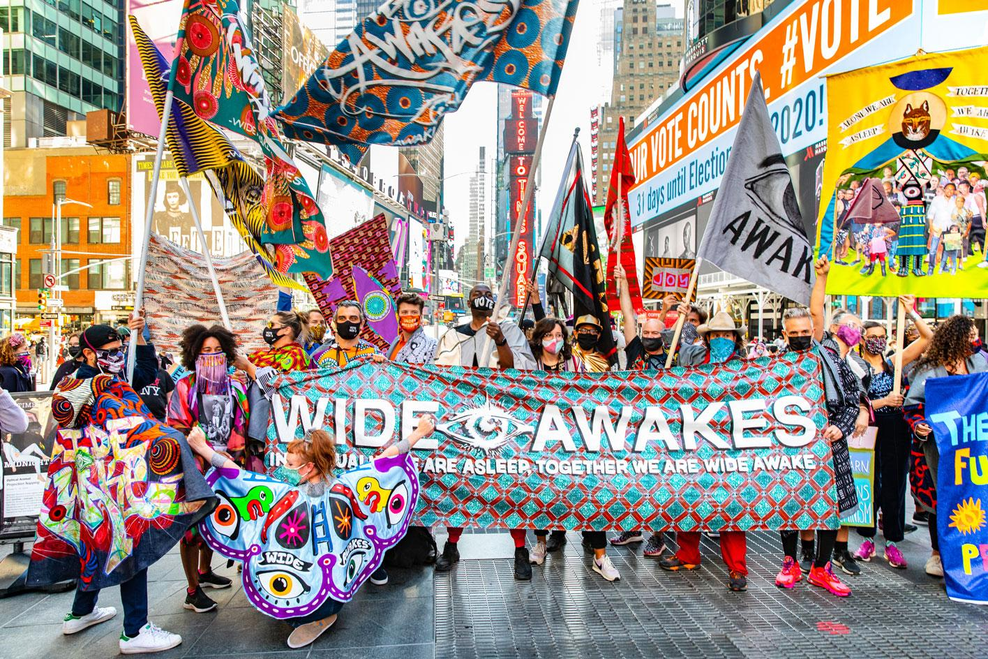 Wide Awakes march in New York on 3October2020