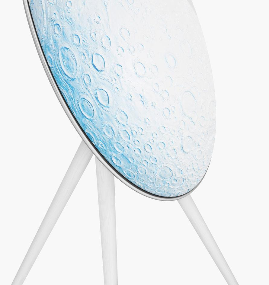 The Bang & Olufsen A9 speaker features a blue moon design