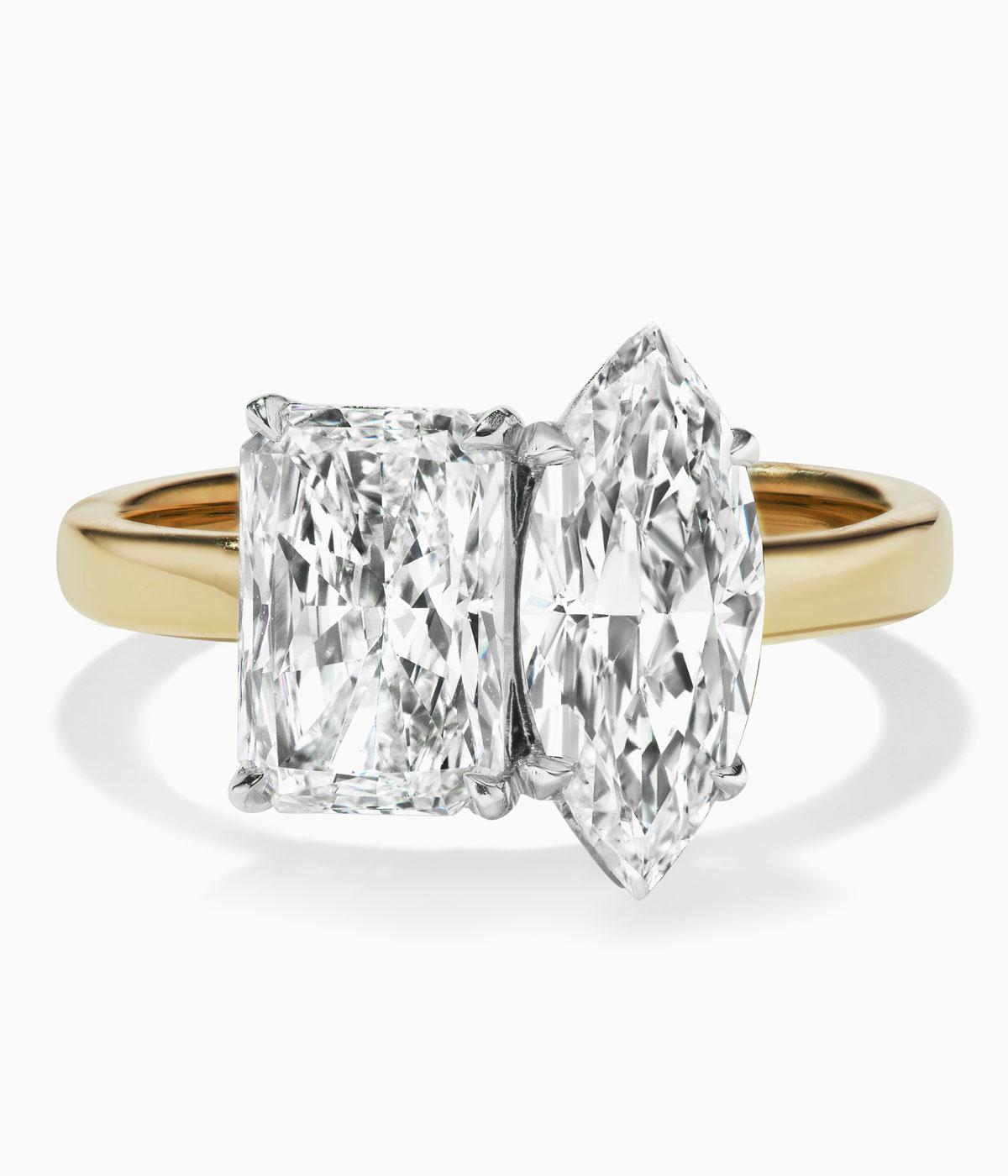 engagement ring with two big diamonds of different shapes