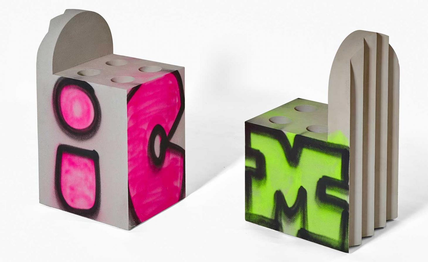 Virgil Abloh Efflorescence concrete chairs with graffiti for Galerie Kreo
