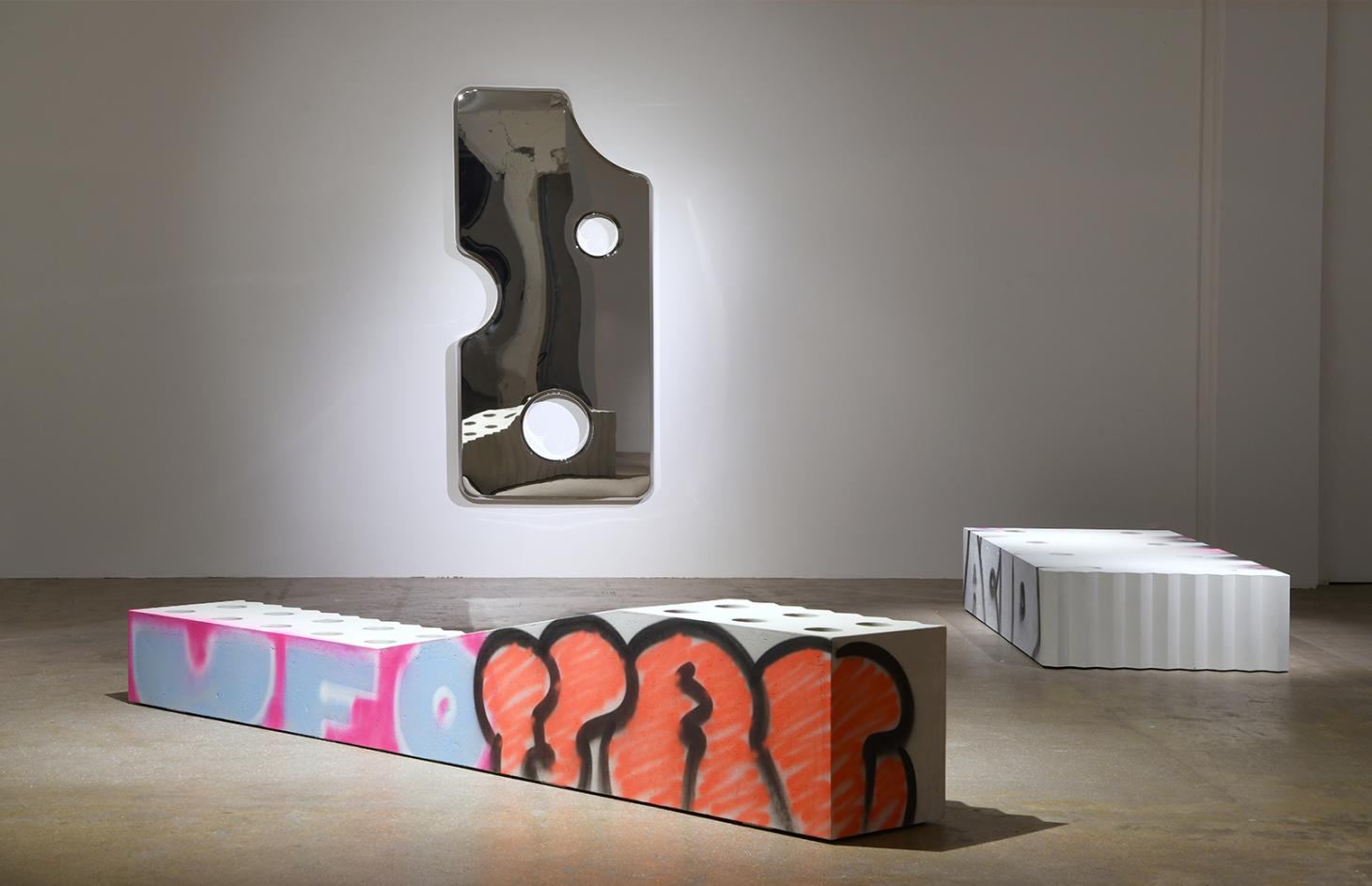Virgil Abloh Efflorescence concrete chairs with graffiti for Galerie Kreo and aluminium mirror with holes