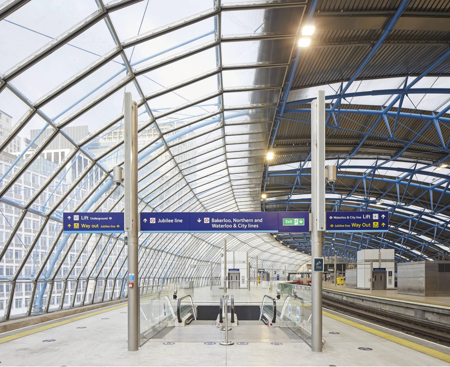 The curving original structure of the former Waterloo International has been refurbished and brought back into daily use