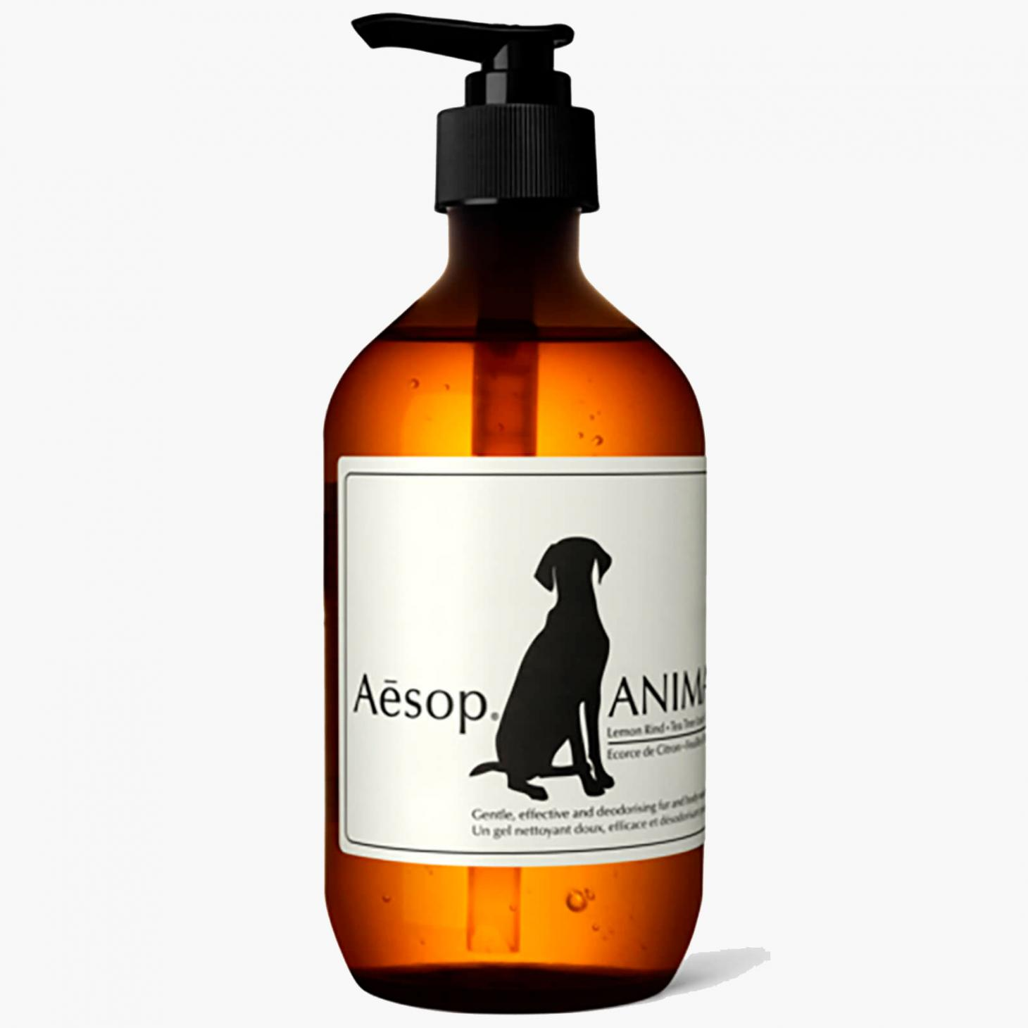 aesop animal wash in brown bottle against grey background