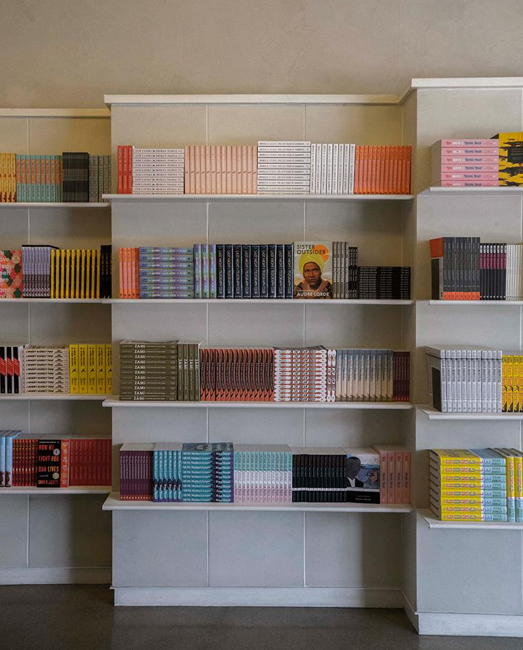 aesop los angles store queer library with books by LGBTQIA+ authors on shelves