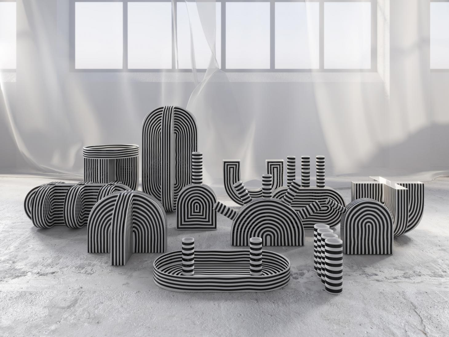 Richard Yasmine furniture featuring black and white arched lines