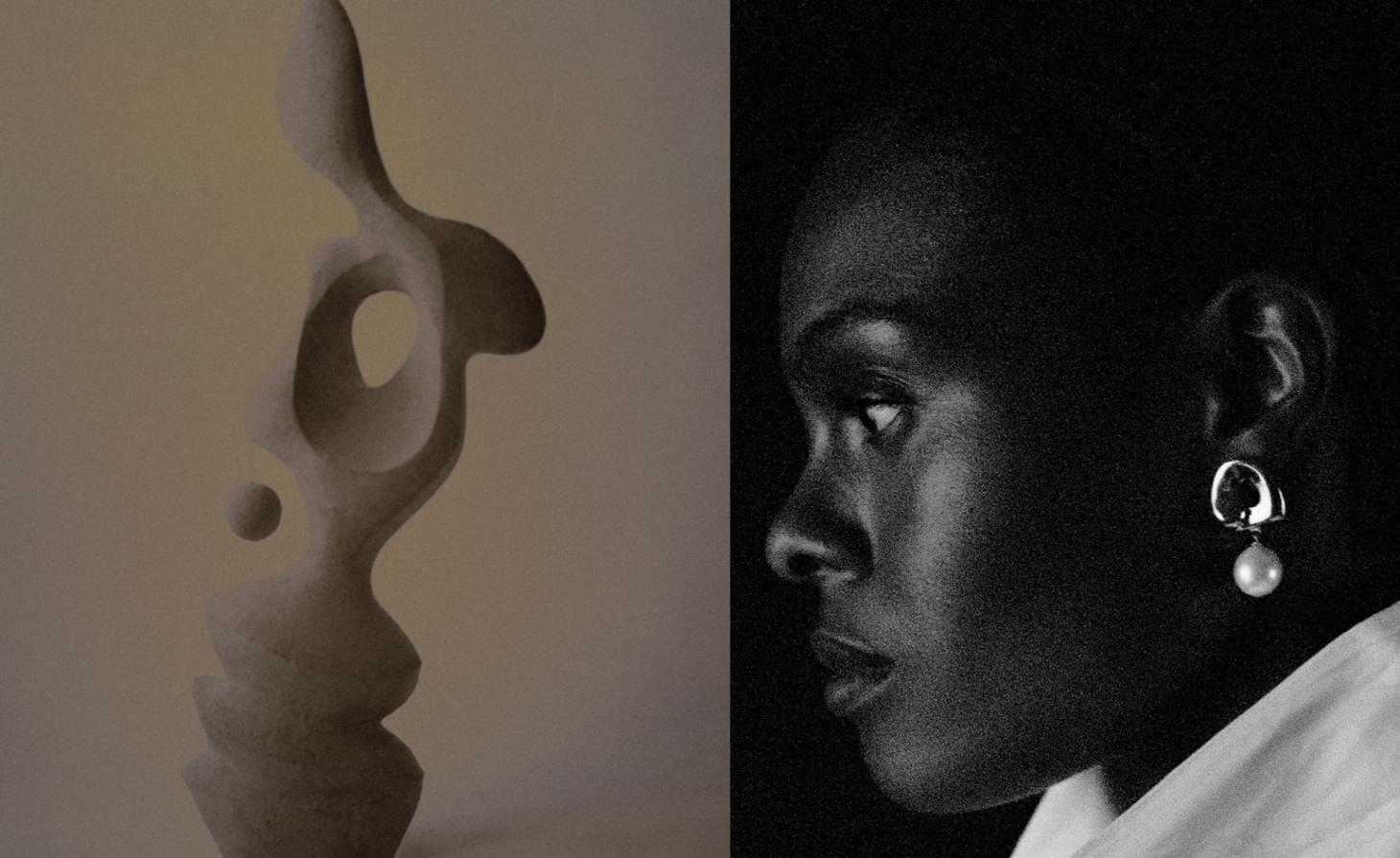 Woman weaing a pearl earring photographed in profile next to a sculpture