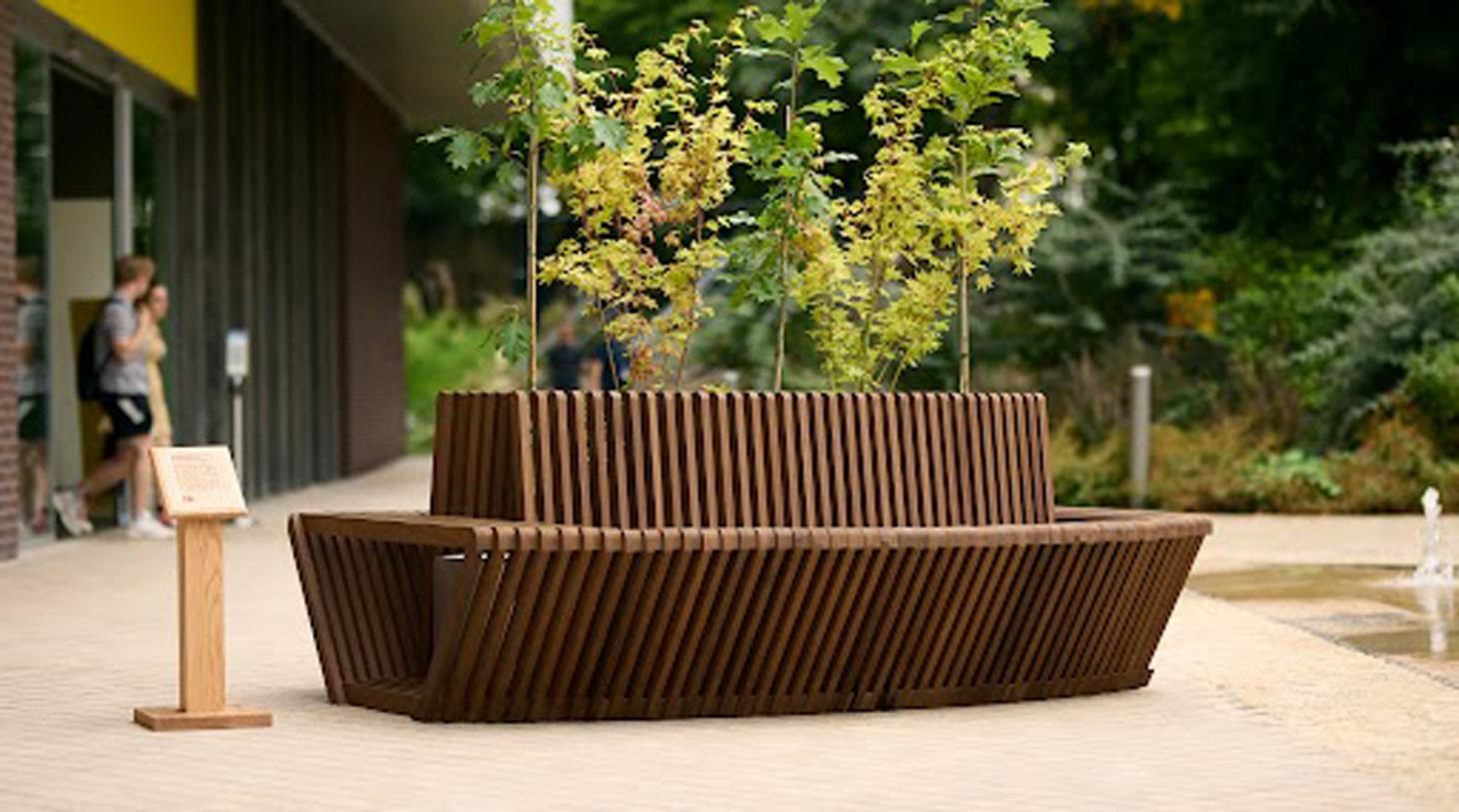 Wooden bench outside Design Museum London
