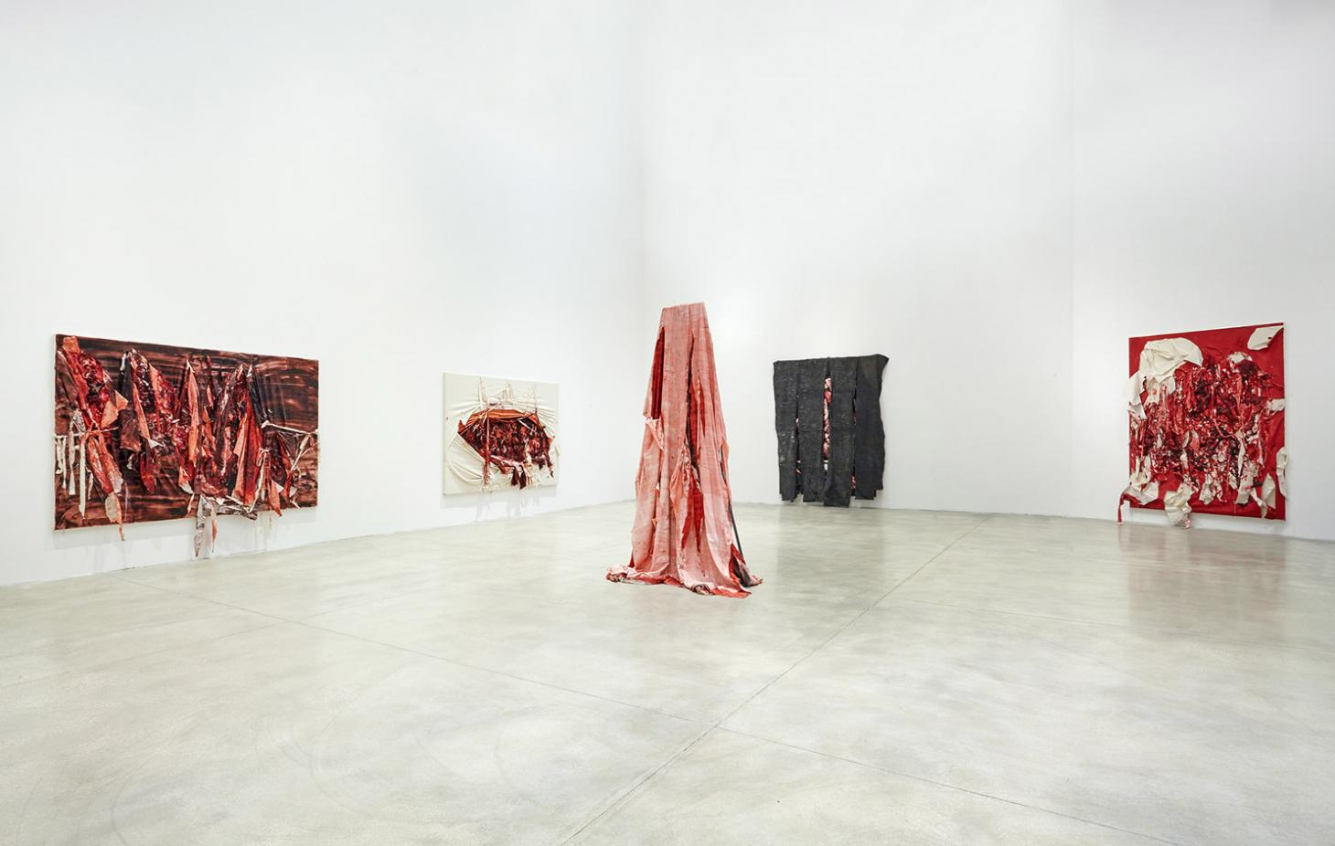 Sculptures and wall pieces seen in Anish Kapoor's 2016 exhibition at the Museo d'Arte Contemporanea Roma