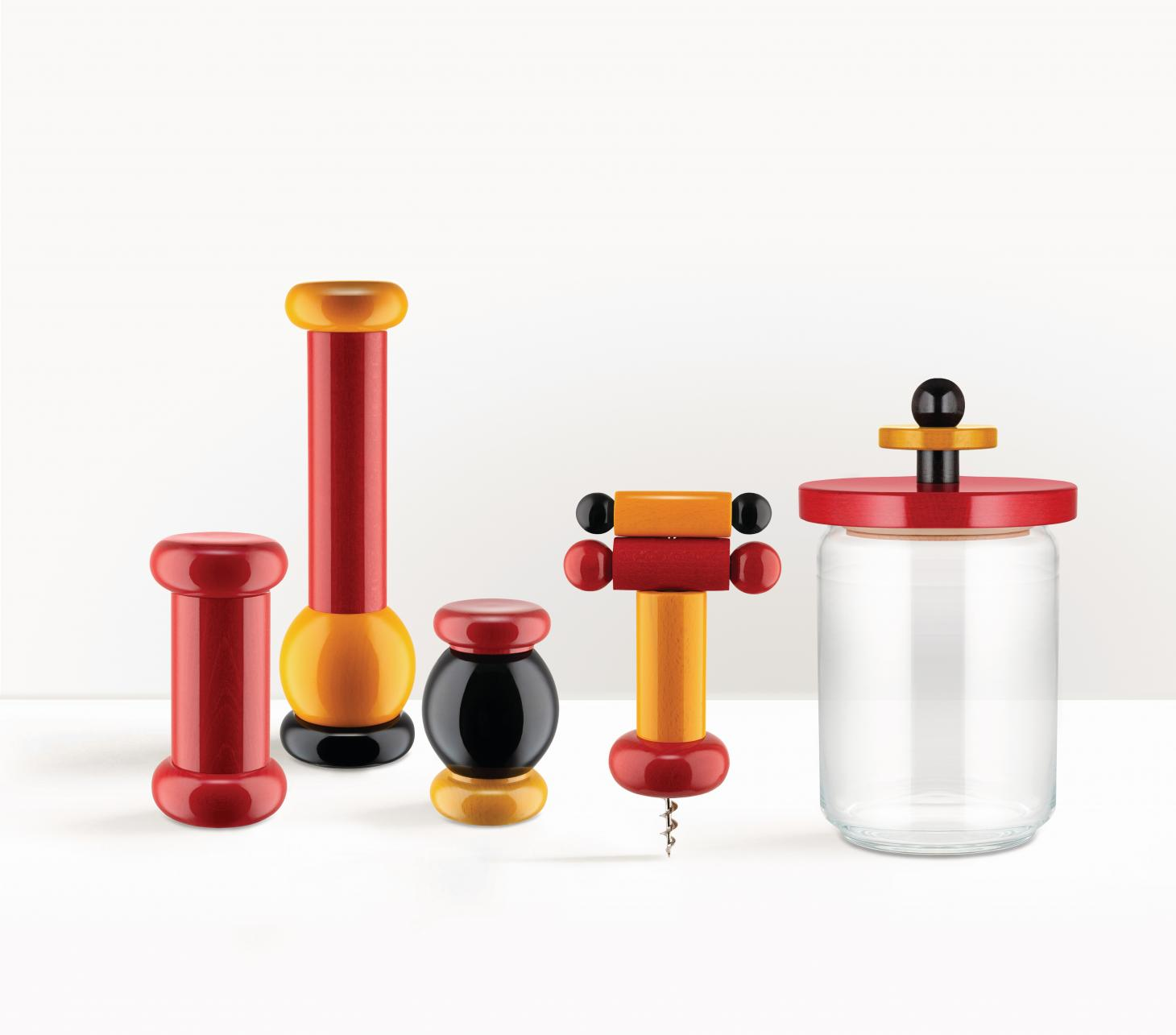 Colorful Kitchen accessories by Ettore Sottsass for Alessi in wood and metal