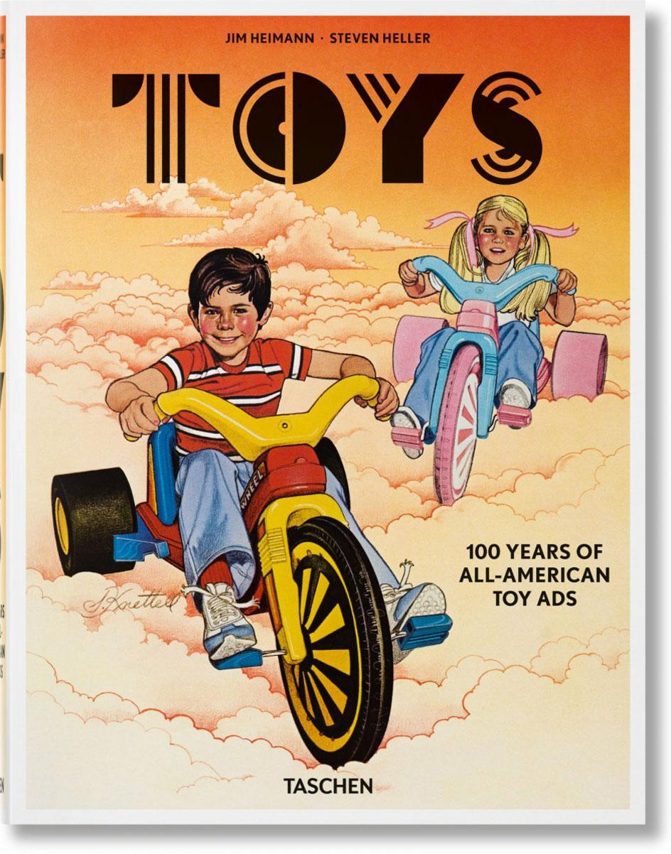 The cover from the new Taschen book from Toys. 100 Hundred Years of All-American toy advertising which shows two children on bicycles