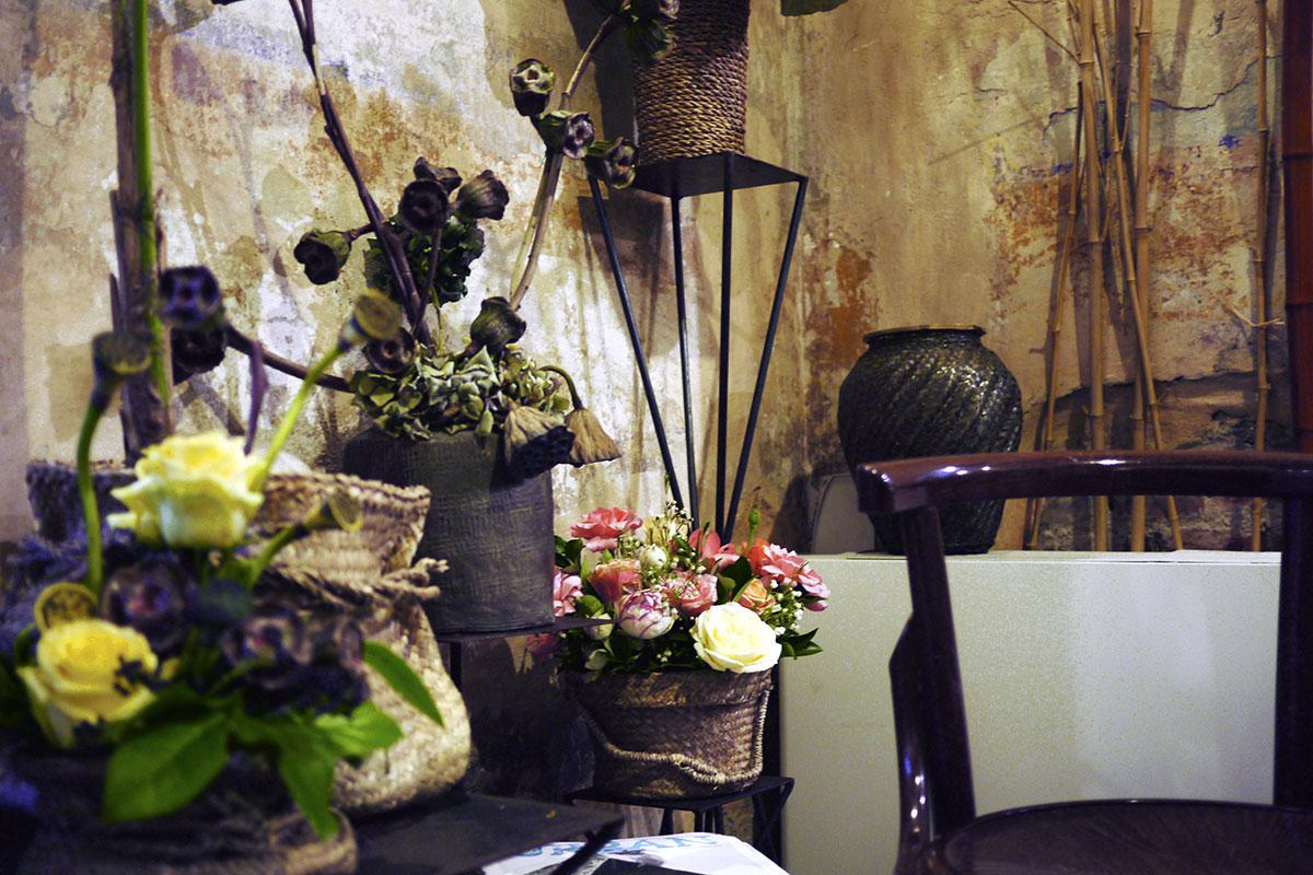 flower display at Fioraio Bianchi Caffè in Milan