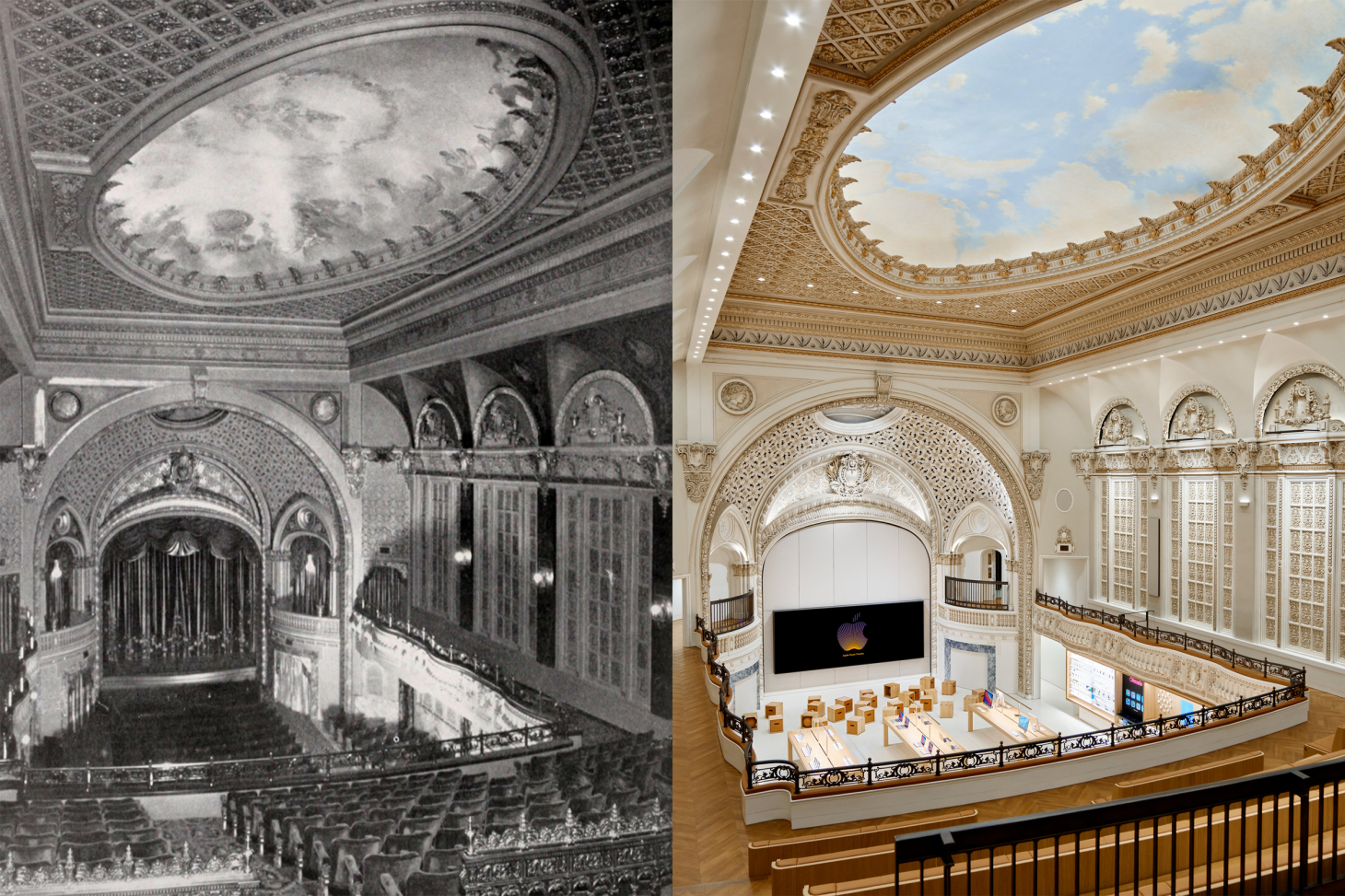 Archival photograph of Tower Theater in LA compared to a modern day Apple one