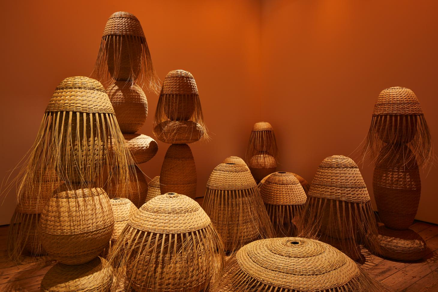 Argentina Pavilion at London Design Biennale featuring woven basket objects