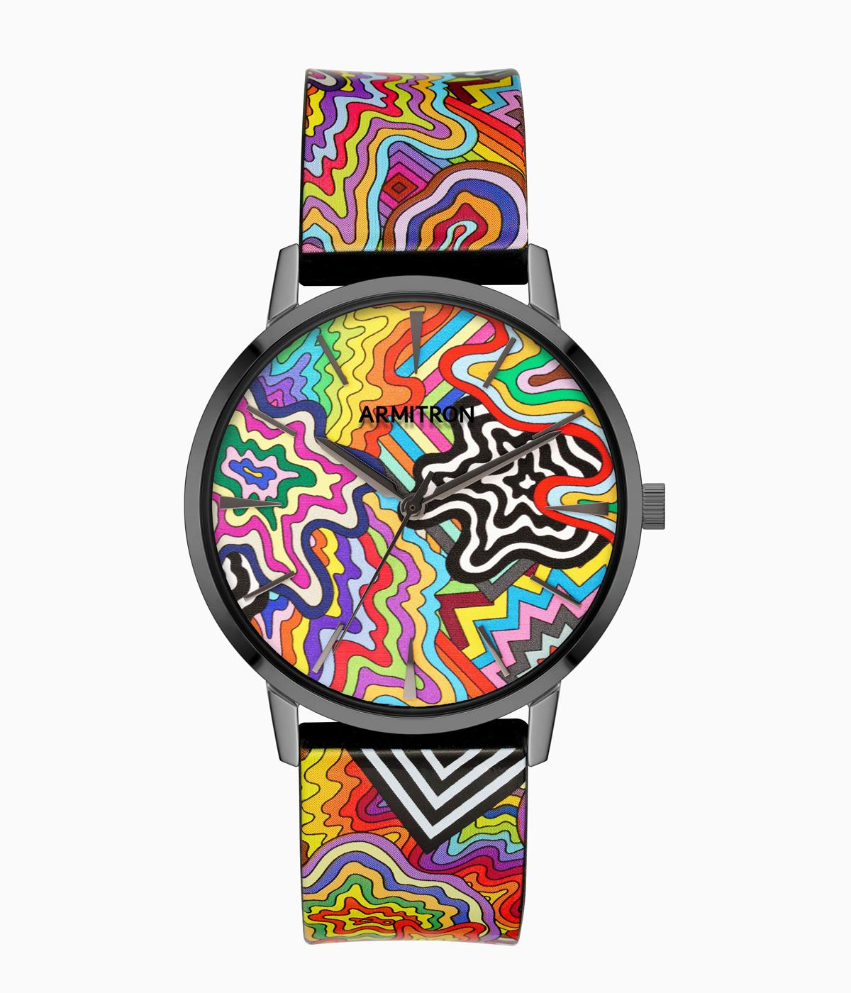 Brightly coloured watch on a white background