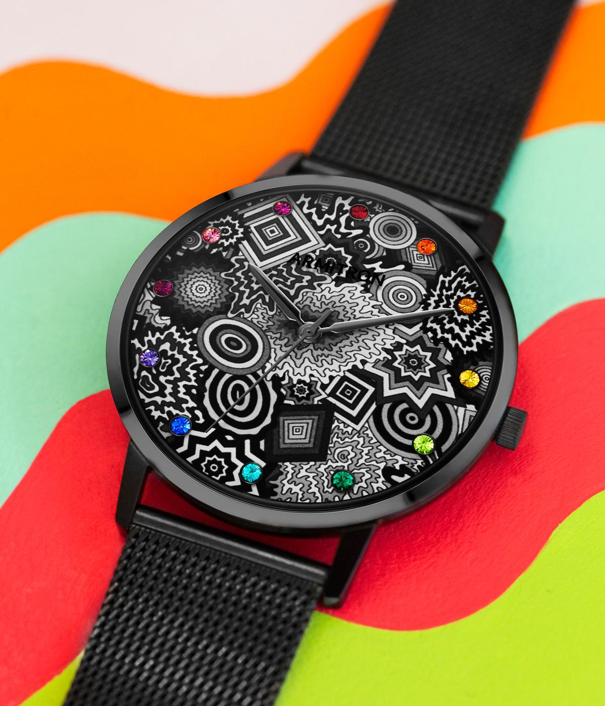 Watch with patterned face on colourful background