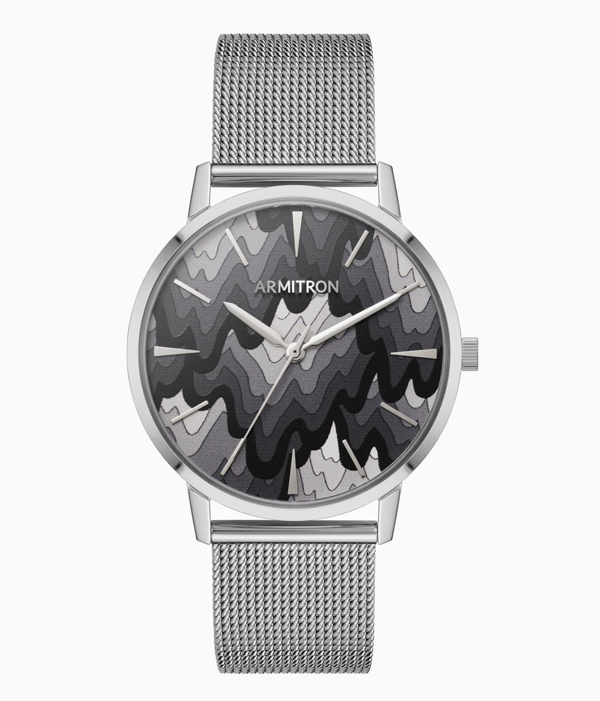 Black and white watch face with silver strap