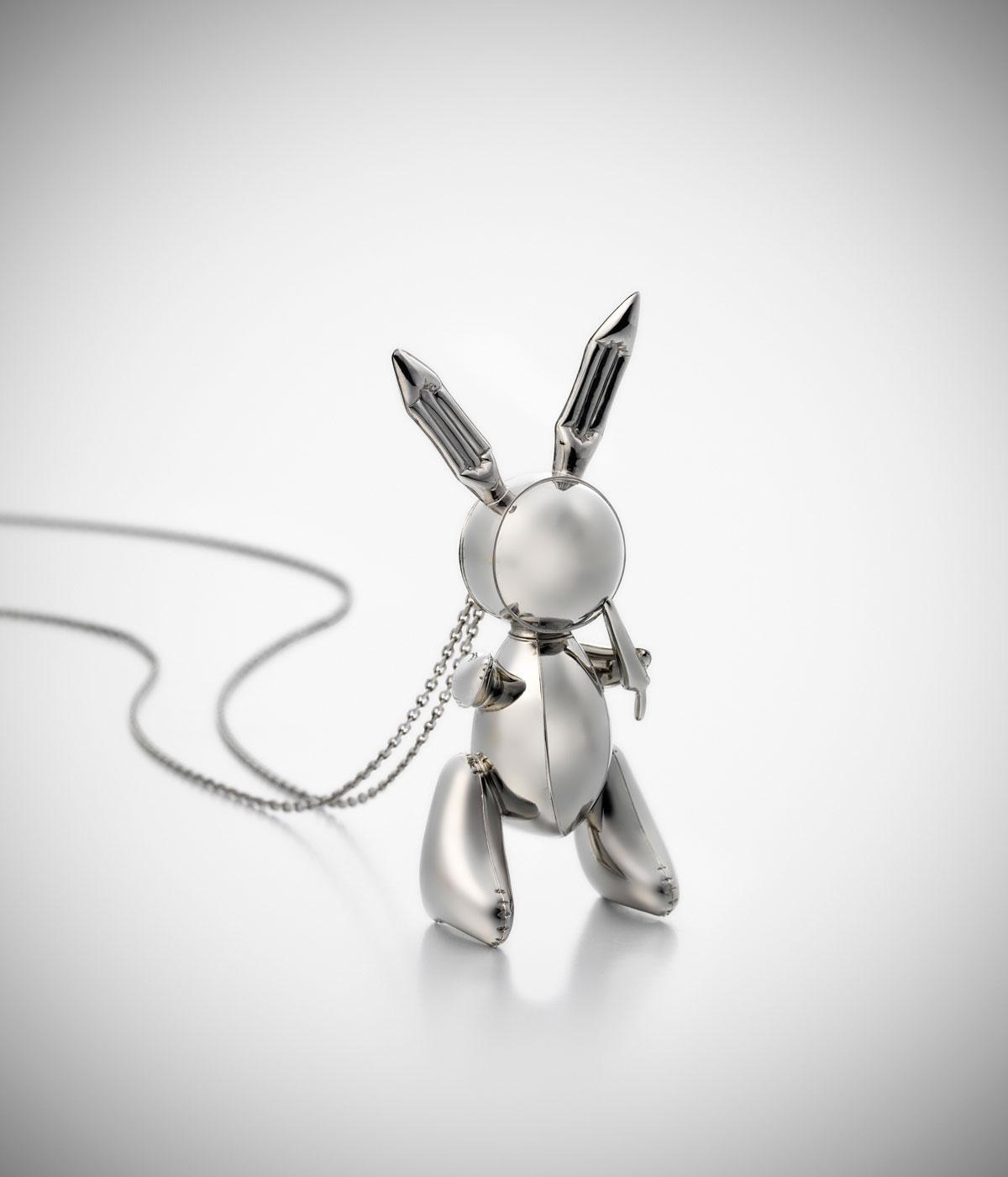 Small platinum rabbit on a necklace