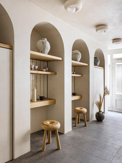 Liberté bakery in paris seating area with interiors designed by Emmanuelle Simon