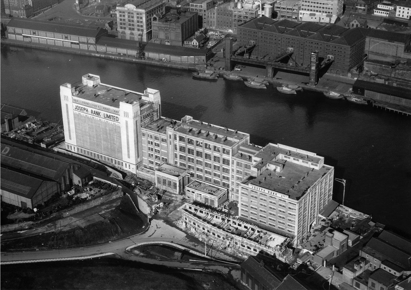 Aerial view of theJoseph Rank Baltic flour mill in Gateshead, which is now the baltic centre for contemporary art, part of the most extraordinary art spaces