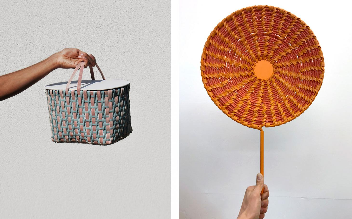 Two images of woven pieces part of the Basketclub project. Left, a hand holds a rigid basket woven with pink and blue cord. Right, a hand holds a round fan in red and orange
