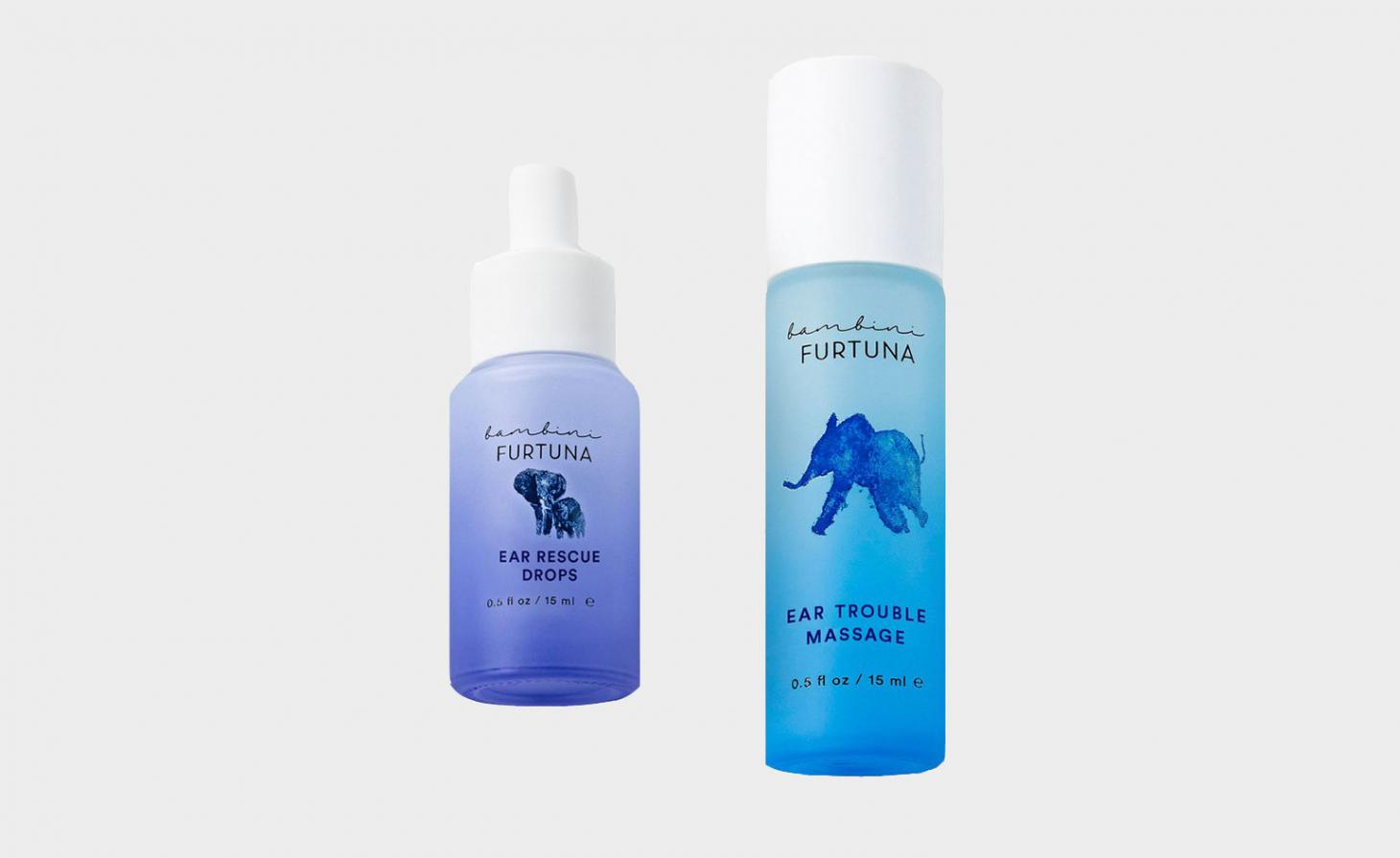 Bambini Furtuna ear rescue drops and ear trouble massage oil against grey background