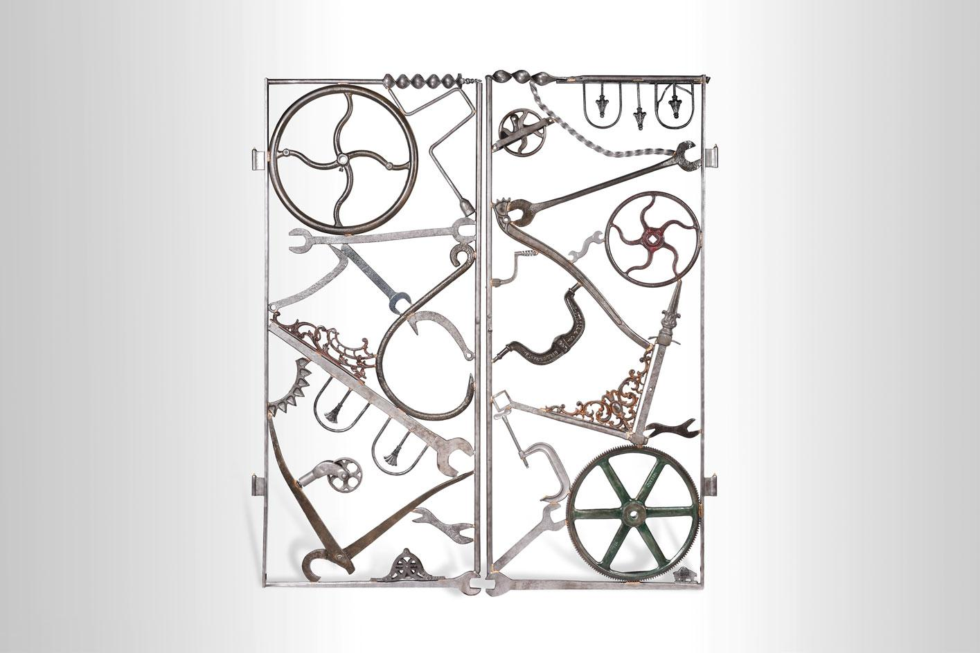 Bob Dylan,Double Gate I,2020,Iron and vintage objects
