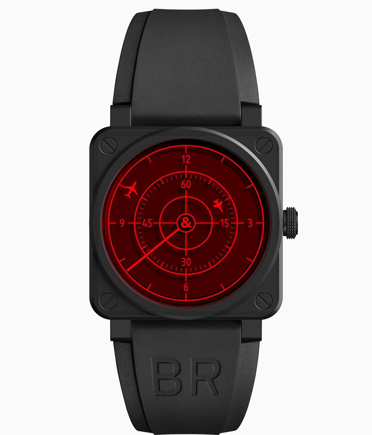 Black bell and ross watch with a red face with planes flying on it