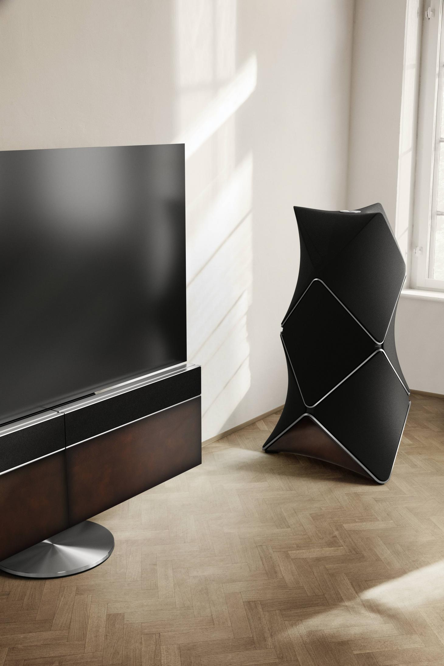 Berluti edition Beovision Harmony 4K television and the Beolab90 speaker
