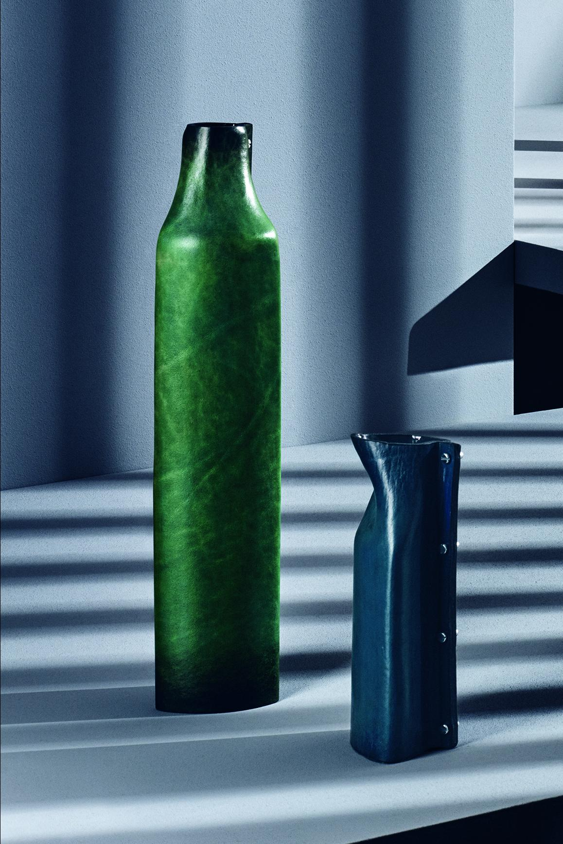 Leather vases by Simon Hasan for Berluti's Home & Office Objects collection