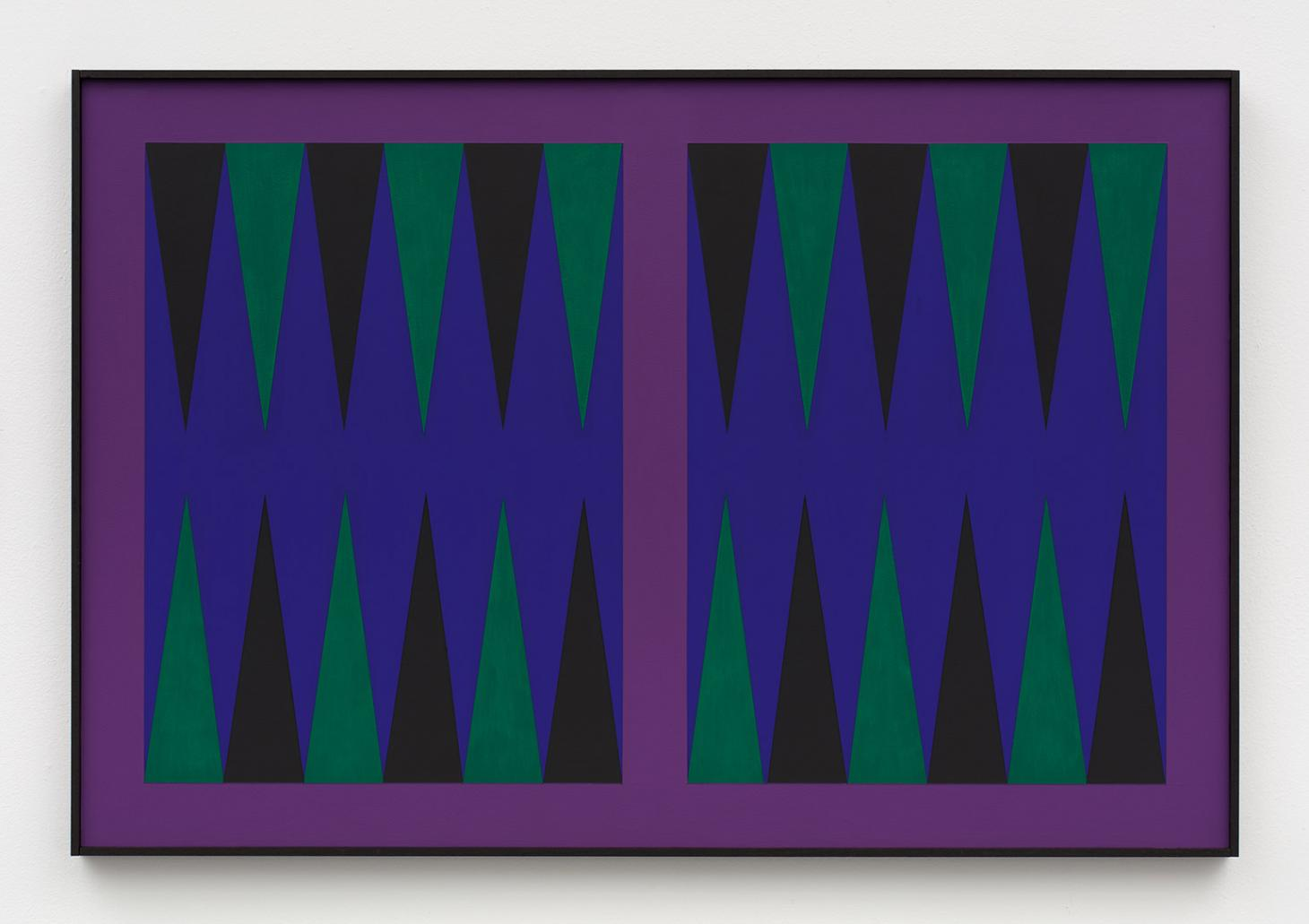 Grand Slam (ultramarine board, violet bar, black ace point, light green point), 2018, by Zak Kitnick