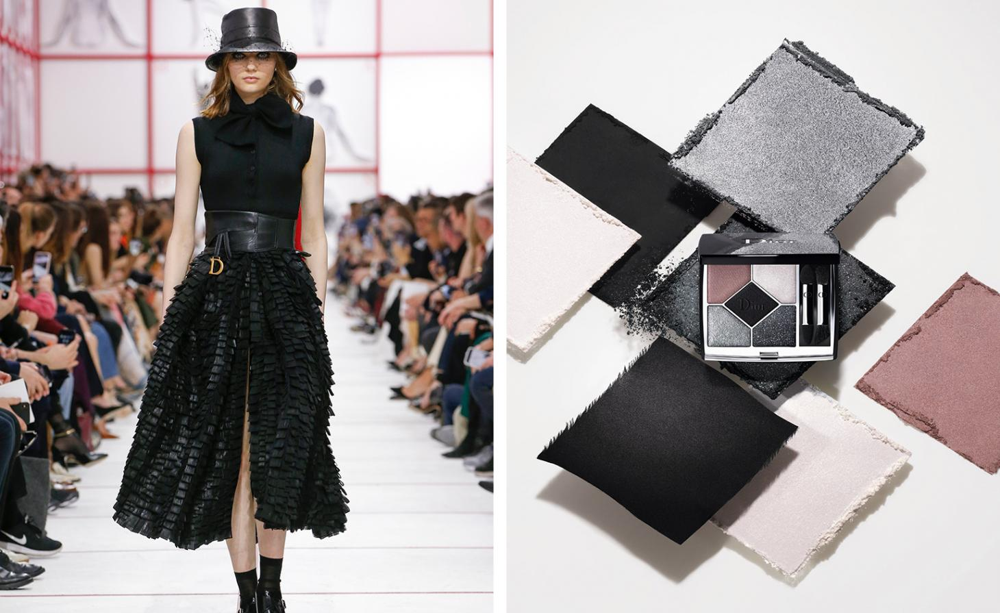 Dior 079 Black Bow Couleurs Couture Palette next to AW19 womenswear